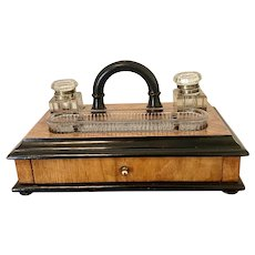 Antique Victorian Figured Walnut Free Standing Desk Set