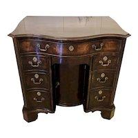 Quality Antique Figured Mahogany Serpentine Shaped Knee Hole Desk
