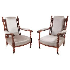 Fine Pair of Antique Victorian Carved Oak Armchairs
