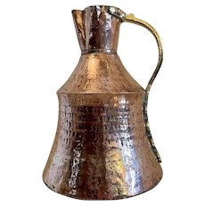 Large Antique Arts and Crafts Copper and Brass Milk Jug