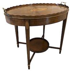 Antique Edwardian Inlaid Mahogany Oval Tray Table