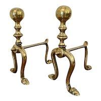 Pair of Victorian Brass Firedogs