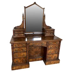 19th Century Antique Victorian Burr Walnut Dressing/Vanity Table by Maple & Co.London