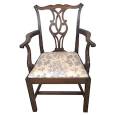 Antique Mahogany Open Arm Desk Chair