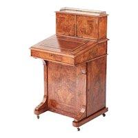 Outstanding Quality Antique Victorian Inlaid Burr Walnut Davenport