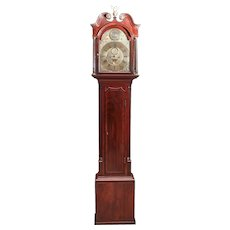 Outstanding 18th Century Mahogany Inlaid Brass Face Eight Day Grandfather Clock