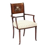 Exhibition Quality Antique Victorian Brass Inlaid Rosewood Elbow Chair