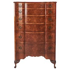 Antique Queen Anne Style Burr Walnut Shaped Front Chest