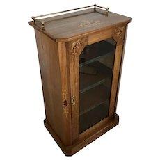Antique Victorian Inlaid Walnut Music Cabinet