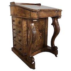 Quality Antique Victorian Burr Walnut Freestanding Davenport