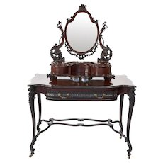 Antique Chippendale Style Mahogany Carved Dressing/Vanity Table with Mirror