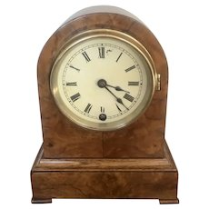 Antique Victorian Burr Walnut Mantel Clock