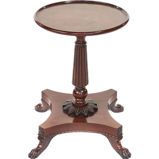 Antique 19th Century Regency Yew Wood Lamp/Side Table