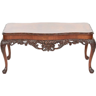 Antique Carved Burr Walnut Coffee Table