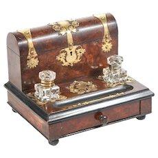 Antique 19th Century Victorian Walnut Desk Stand with Brass Mounts