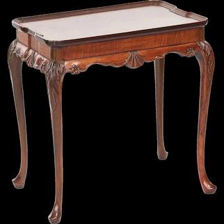 Quality Antique Georgian Style Burr Walnut Silver Table