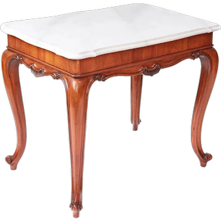Antique 19th Century French Walnut Centre/Side Table with Faux Marble Top