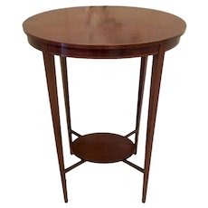 Quality Antique Edwardian Inlaid Mahogany Oval Lamp Table