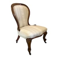 Antique Victorian Walnut Spoon Back Ladies Chair