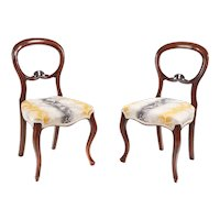 Pair of Victorian Walnut Bedroom/Side Chairs