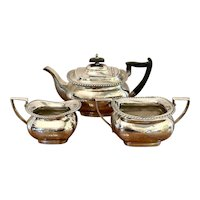 Antique Edwardian Three Piece Silver Plated Tea Set by Walker & Hall