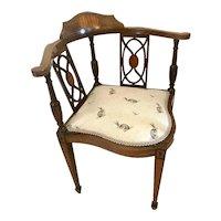 Antique Inlaid Mahogany Corner Chair