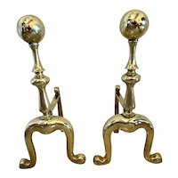 Pair of Victorian Antique Brass Fire Dogs