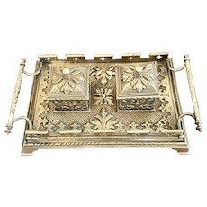 Outstanding Antique Victorian Brass Desk Set