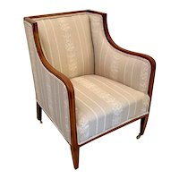 Antique Inlaid Mahogany Library Chair