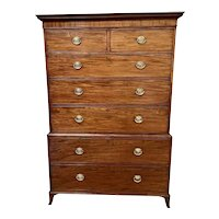 Antique George III Figured Mahogany Chest on Chest
