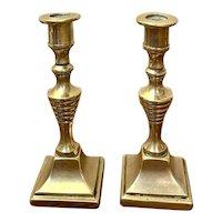 Pair Of Edwardian miniature Brass Candlesticks