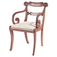 Fine Regency Mahogany Elbow / Desk Chair