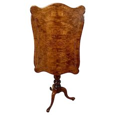 Quality Antique Victorian Inlaid Burr Walnut Lamp Table
