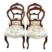 Quality set of four antique Victorian walnut dining chairs