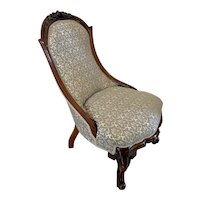 Quality Antique 19th Century Victorian carved walnut ladies chair