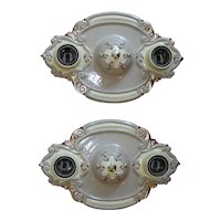 1930s Pair of Art Nouveau style Double Light Flush Mount Chandeliers - Riddle