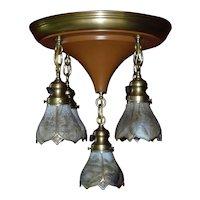 1920s Art Nouveau Style Five-Light 'Shower' Chandelier with Kokomo Glass Shades