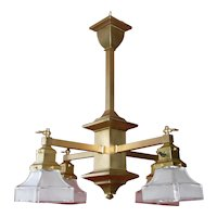1910s Arts & Crafts Mission Four Light Chandelier with Glass Shades