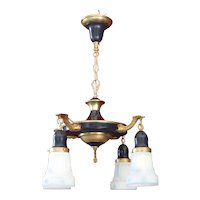 1920s Art Nouveau Style Four-Light Brass Pan Chandelier with White & Blue Glass Shades