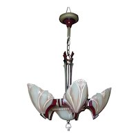 1920s Art Deco Six-Light Slip Shade Chandelier