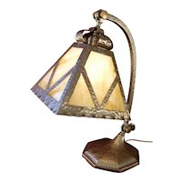 1920s Arts & Crafts Mission Desk Lamp with Slag Glass Shade