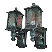 1920s Tudor Arts & Crafts Cast Iron Porch Sconces with Snowflake Etched Glass Shades