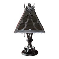 1920s Bradley & Hubbard Arts & Crafts Mission Table Lamp with Slag Glass Shade