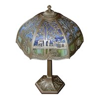 1920s Art Nouveau Style Two-Light Hexagonal Table Lamp with Slumped Slag Glass Shade