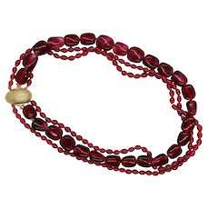 Vintage French Gripoix Cranberry Torsade Necklace