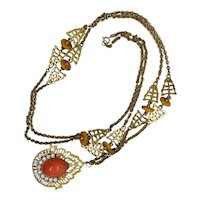 Kenneth Jay Lane Simulated Coral Cabochon Necklace