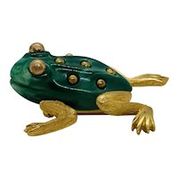 Rare Hard to Find Trifari Green Enamel and Gold Tone Frog Brooch