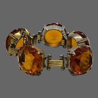 Massive 1930's Citrine Rhinestone Bracelet