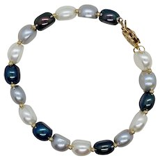 Unique 14K Gold Freshwater Cultured Coin Pearl Bracelet