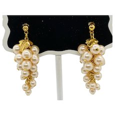 Simulated Pearl Grape Chandelier Earrings